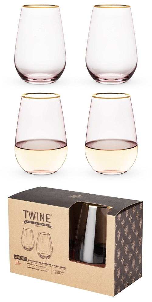 Garden Party: Rose Crystal Stemless Wine Glasses by Twine (Set of 2)