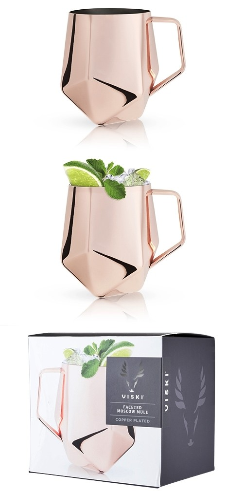 Summit: Faceted Polished-Copper-Plated Moscow Mule Mug by VISKI
