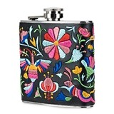 Stainless-Steel Flask with Embroidered Faux Leather Wrap by Blush