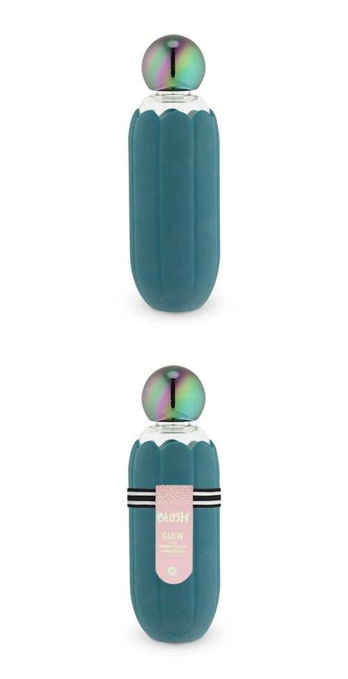 Glow Iridescent Mirage Cap Teal-Silicone-Wrapped Water Bottle by Blush