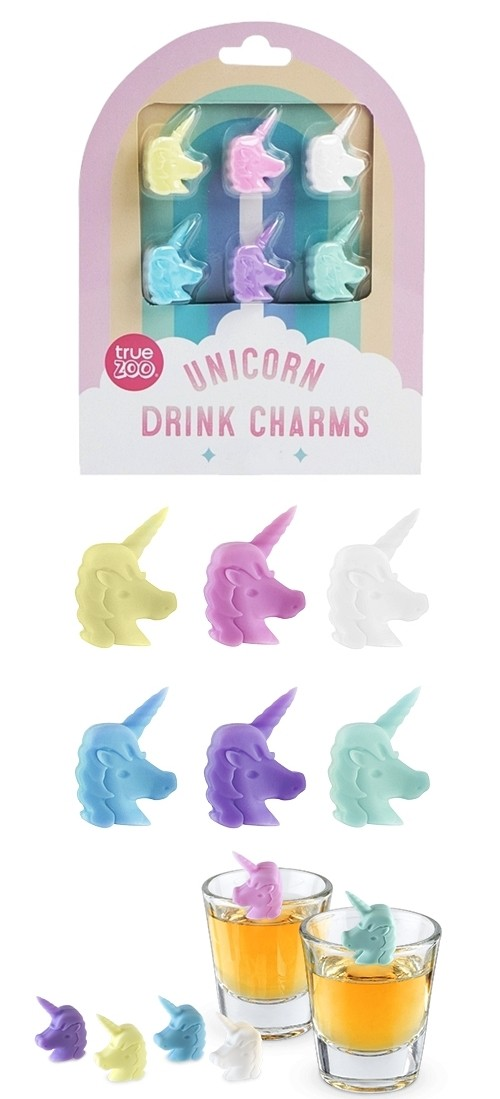 Colorful Unicorn Drink Charms by TrueZOO (Set of 6) | Personalized ...