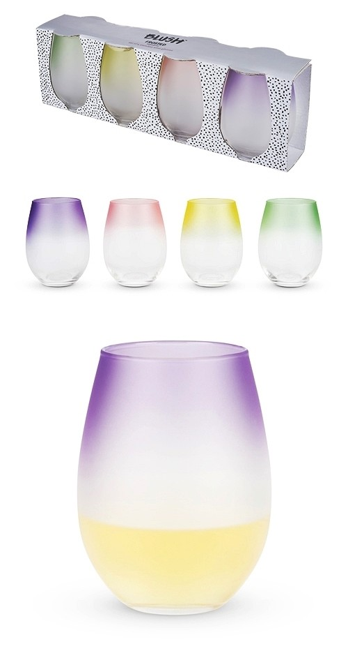 Frosted: Ombre' Stemless Wine Glasses by Blush (Set of 4)