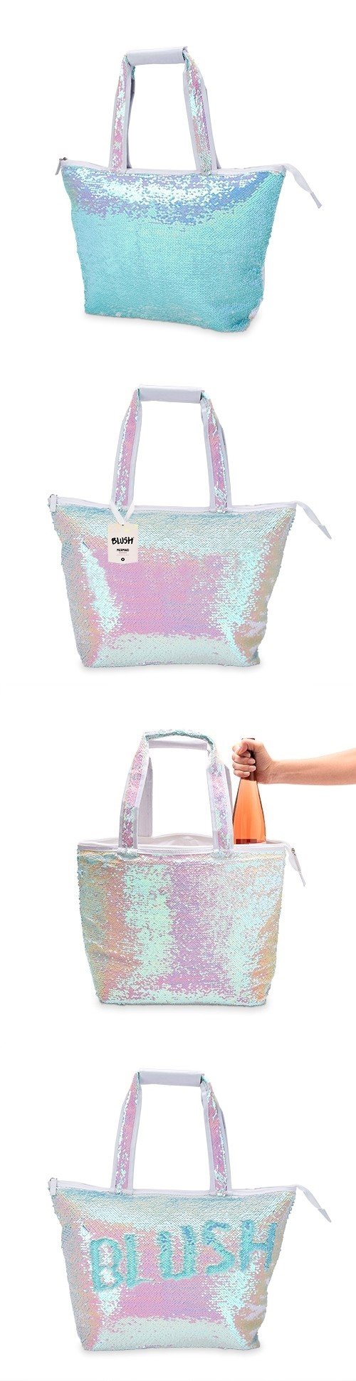 Mermaid Sequin Iridescent Cooler Tote by Blush