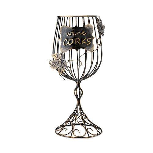 Bronze-Finish-Metal Wine Glass Shaped Cork Display by True