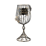 Bronze-Finish-Metal Wine Glass Shaped Cork Display