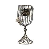 Bronze-Finish-Metal Wine Glass Shaped Cork Display