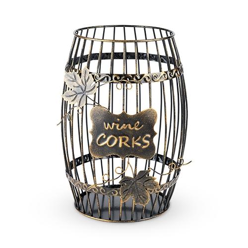 Bronze-Finish-Metal Wine Barrel Shaped Cork Display by True