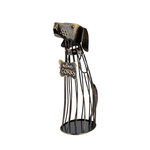 Bronze-Finish-Metal Dog Wine Cork Display by True