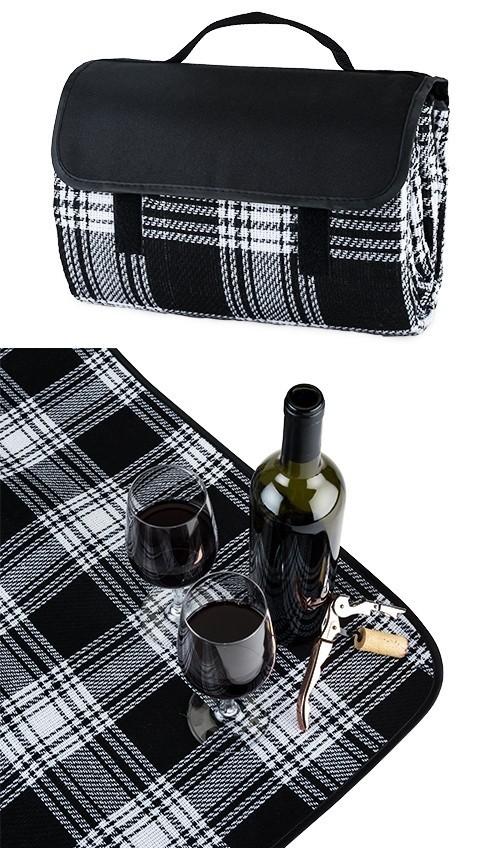 Dine Picnic Blanket in Black Plaid by True