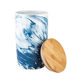 Pantry: Medium Blue Marbled Ceramic Canister by Twine