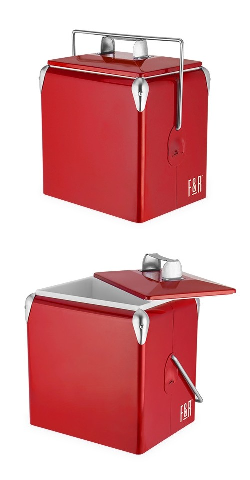 Vintage Metal-Exterior Cooler in Red by Foster & Rye