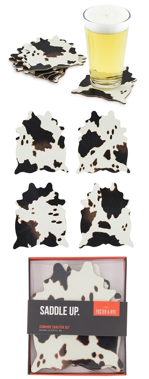 """""""Saddle Up"""" Cowhide Print Coaster Set of 4 by Foster & Rye"""
