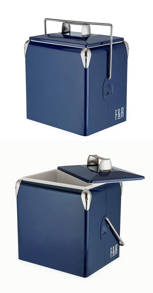 Vintage Metal-Exterior Cooler in Dark Blue by Foster & Rye