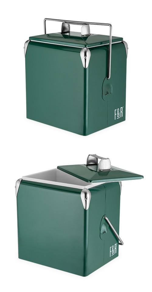 Vintage Metal-Exterior Cooler in Dark Green by Foster & Rye