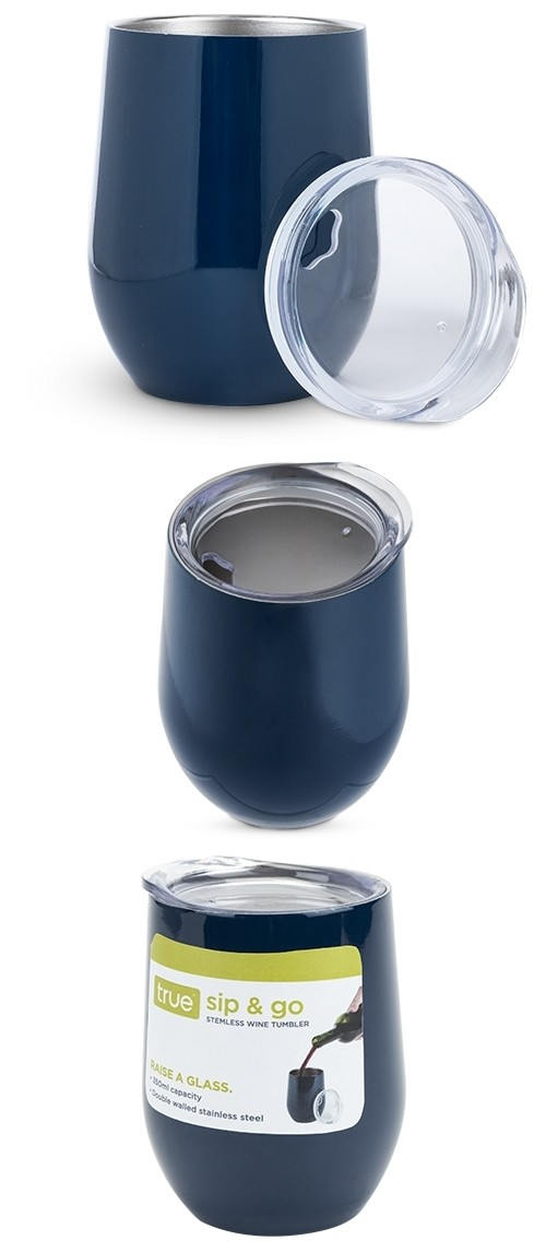 Sip & Go Stemless Wine Tumbler in Navy Blue by True