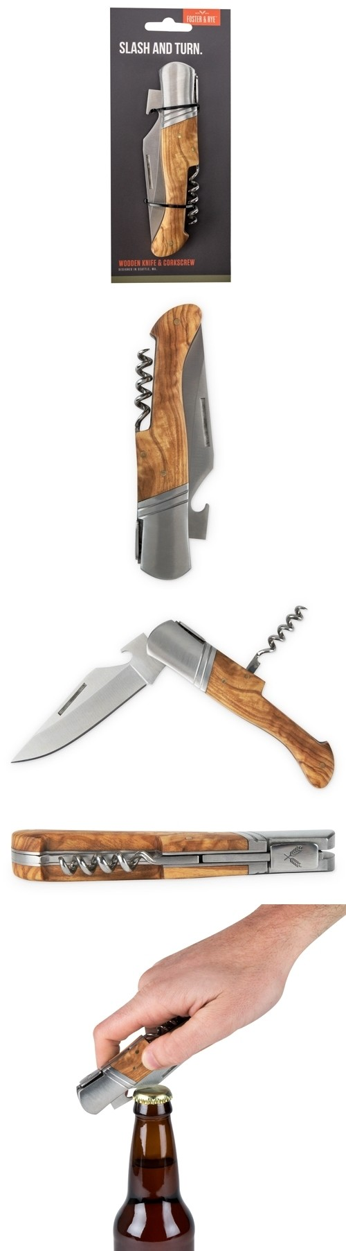 Olive Wood & Stainless Steel Corkscrew+Knife Combo by Foster & Rye