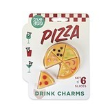 Pizza Slice Shaped Silicone Drink Charms by TrueZOO (Set of 6)