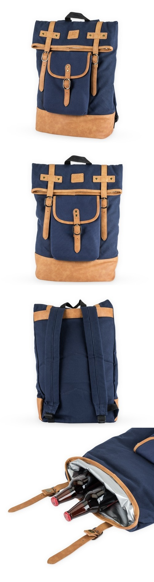 Insulated Canvas Cooler Adventure Backpack in Blue by Foster & Rye