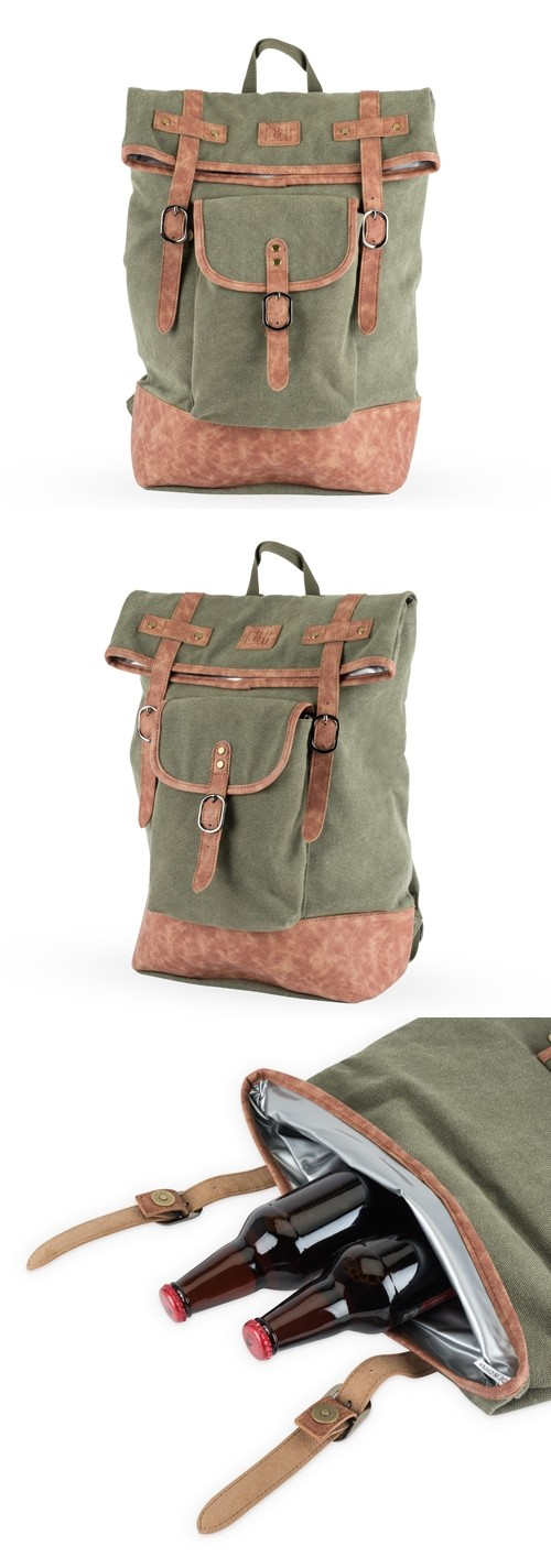 Insulated Canvas Cooler Adventure Backpack in Green by Foster & Rye