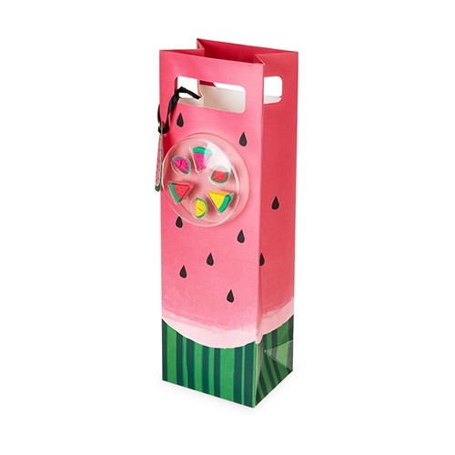 Watermelon Closeup Motif Wine Bag & Silicone Wine Markers by Cakewalk