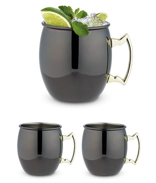 Black Moscow Mule Mug with Gold Handle by True (2 Pack)