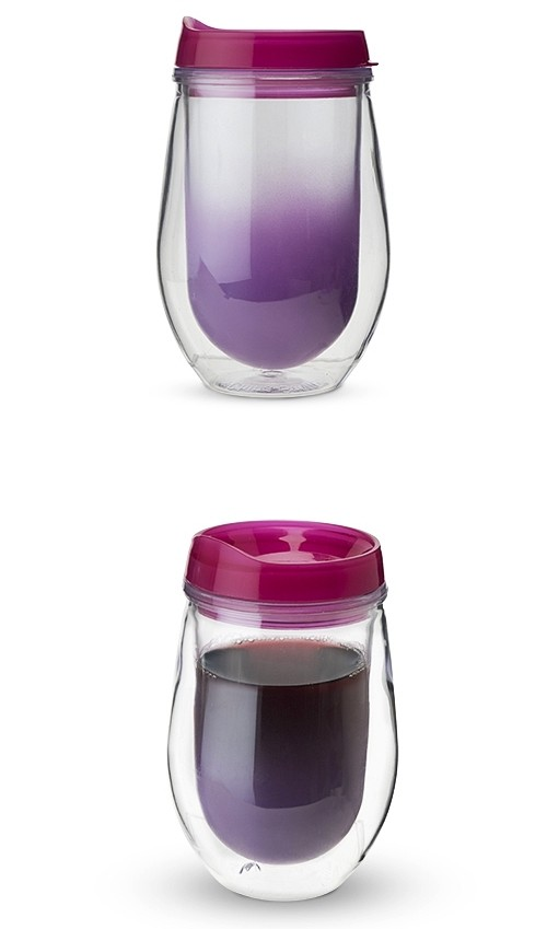 Traveler Double-Walled Wine Tumbler in Berry Ombre by True