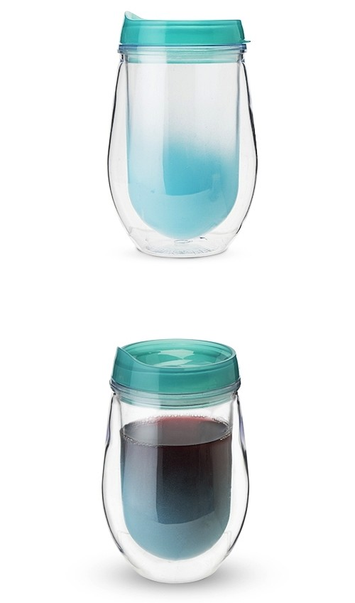 Traveler Double-Walled Wine Tumbler in Teal Ombre by True