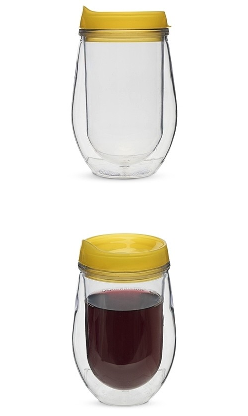 Traveler Double-Walled Wine Tumbler in Yellow by True
