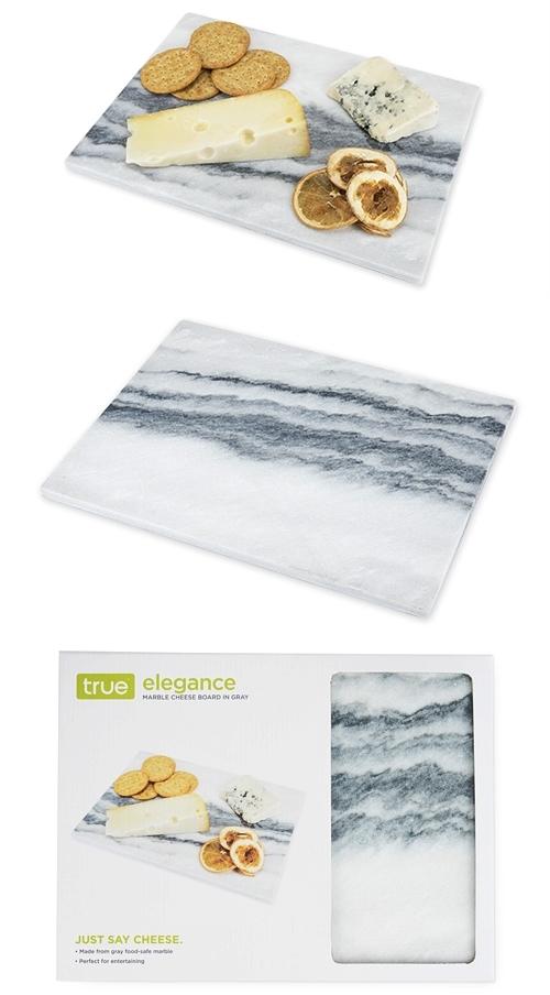Elegance: Rectangular Marble Cheeseboard in Gray by True