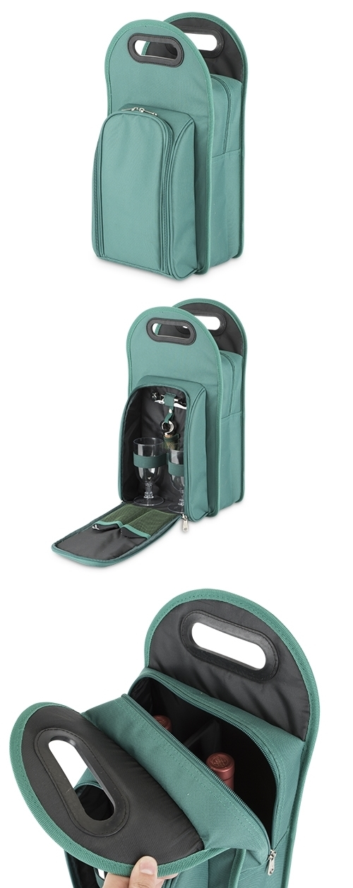Metro™: 2-Bottle Wine Tote in Teal-Green & Black by True