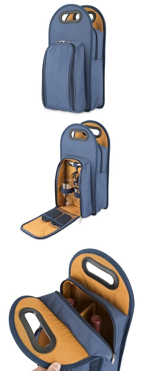 Metro™: 2-Bottle Wine Tote in Navy & Orange by True