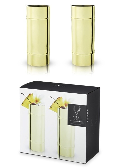 Pacific: Gold-Plated Bamboo Design Highball Glasses (VISKI) (Set of 2)