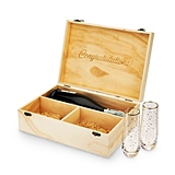 Congratulations! Wood Champagne Gift-Box with Stemless Flutes by Twine