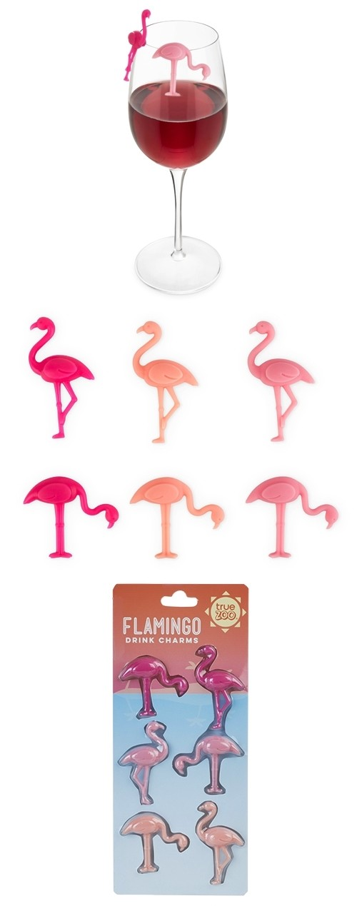 Tropical Chic Flamingo Drink Charms by TrueZOO (Set of 6)