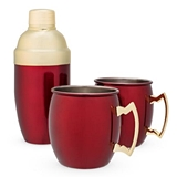 Red Moscow Mule Mugs & Cocktail Shaker Gift Set by Twine