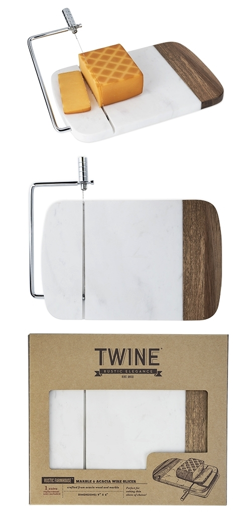 Rustic Farmhouse: Marble & Acacia-Wood Wire Slicer by Twine