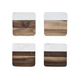 Rustic Farmhouse: Marble & Acacia-Wood Coasters by Twine (Set of 4)