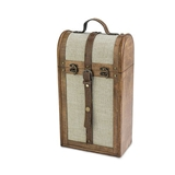 2-Bottle Vintage-Striped Trunk Wine Box by Twine