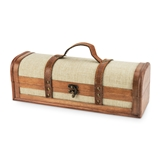 1-Bottle Vintage-Striped Trunk Wine Box by Twine