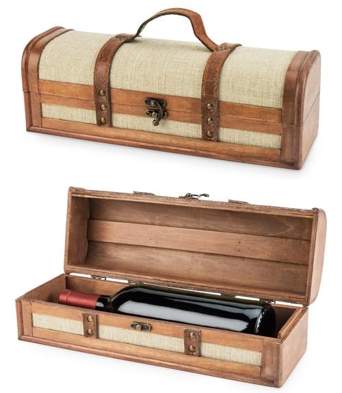 1-Bottle Vintage-Striped Trunk Wine Box by Twine