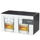 Raye: Plaid-Cut Crystal Highland Whisky Tumblers by VISKI (Set of 2)