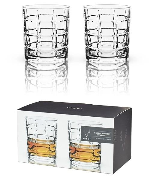Raye: Plaid-Cut Crystal Highland Whisky Tumblers by VISKI (Set of 2)