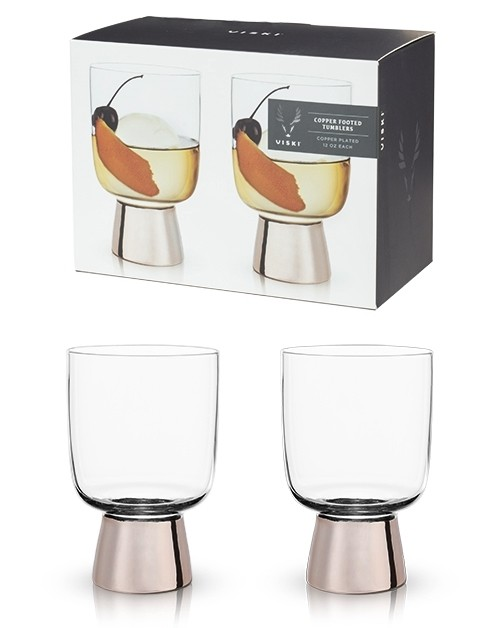 Raye: Copper Footed Glass Tumblers by VISKI (Set of 2)