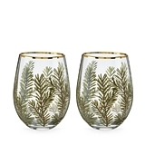 Woodland Motif Stemless Wine Glasses by Twine (Set of 2)