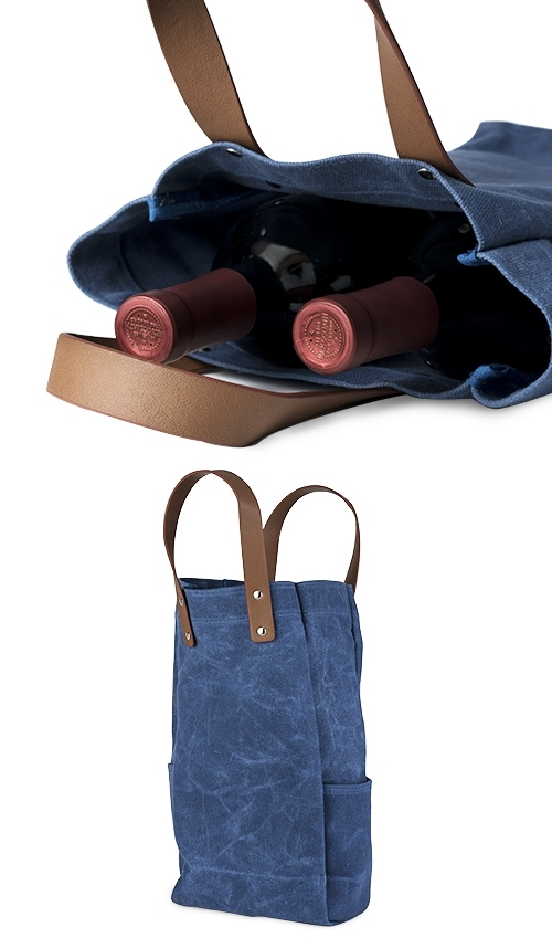Waxed Blue Canvas Double Bottle Wine Bag with Leather Straps by True