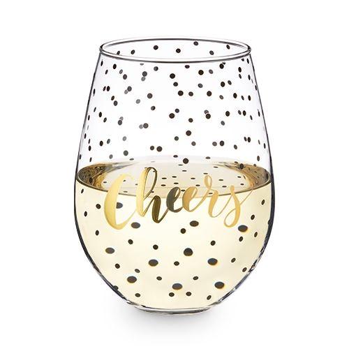 "Confetti ""Cheers"" Design 30 oz Stemless Wine Glass by Blush"