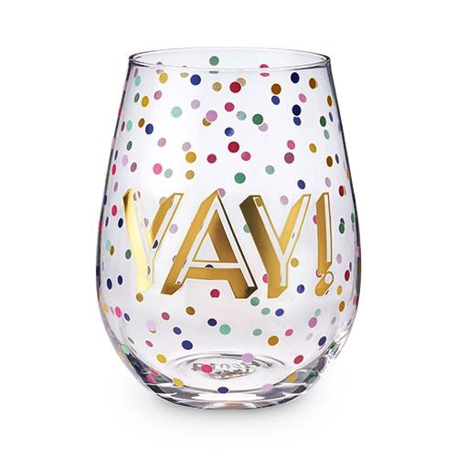 "Confetti ""YAY!"" Design 20 oz Stemless Wine Glass by Blush"