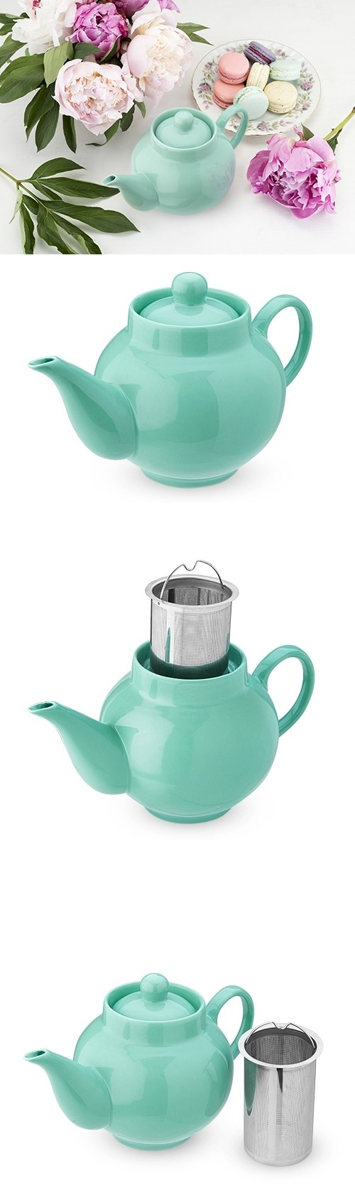 Regan Green Ceramic Teapot & Infuser by Pinky Up