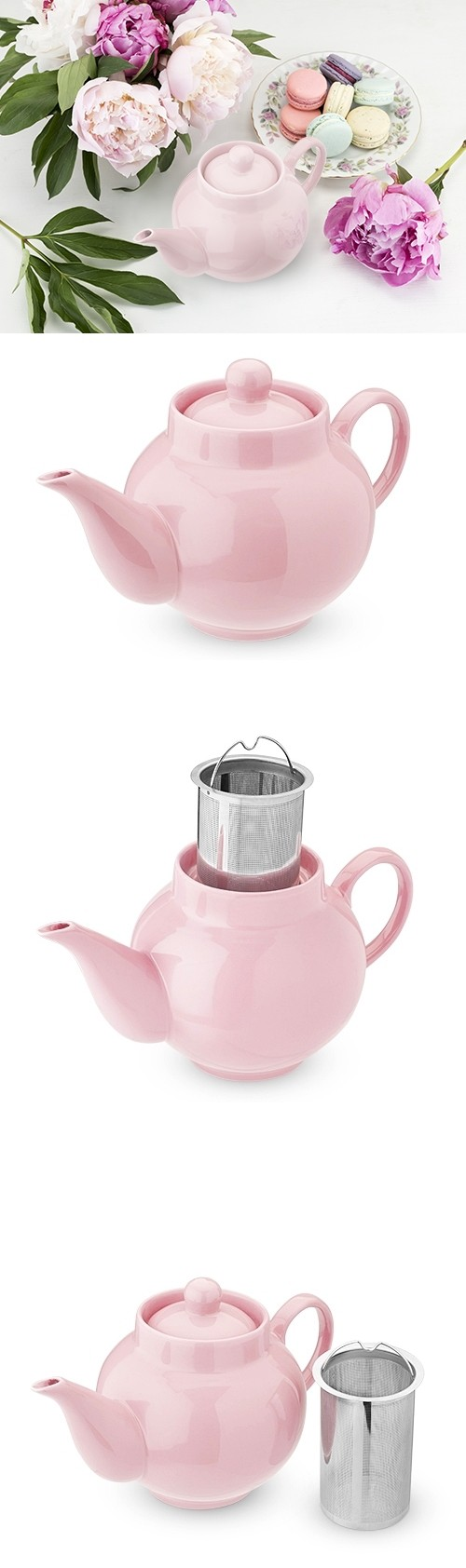 Regan™ Light Pink Ceramic Teapot & Infuser by Pinky Up®