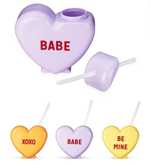 Sweet Talker Heart-Shaped Drink Tumbler by Blush (Assorted Sayings)